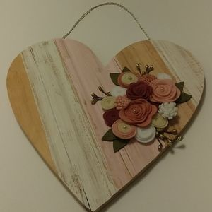Wood Heart shaped with floral embellishment